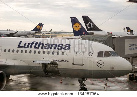 FRANKFURT GERMANY - circa FEBRUARY 2016: Lufthansa aircraft AIRBUS A320 towed for maintenance at Frankfurt airport, Germany. Lufthansa is the flag carrier of Germany and the largest airline in Europe.