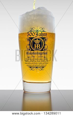 Munich Germany - June 11 2016: The 500 years of Reinheitsgebot - German Beer Purity Law - series of regulations limiting ingredients in beer production. According to 1516 Bavarian law only water barley and hops could be used.