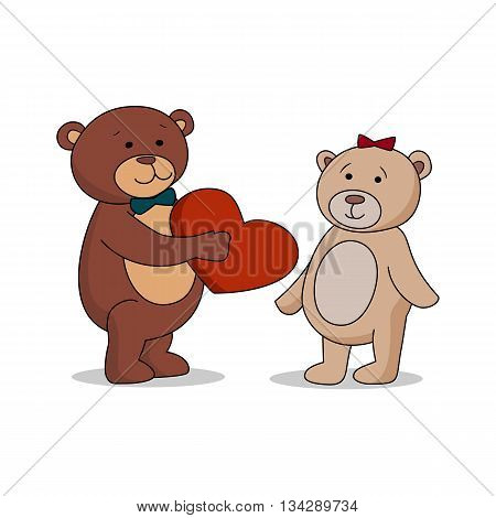 Couple lovers of teddy bears with heart in hands. Bear gives a red heart female bears. Bear sheepishly from the proposal. Happy Valentines Day. Vector illustration EPS 10