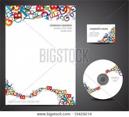 Design template set - business card, cd, paper poster