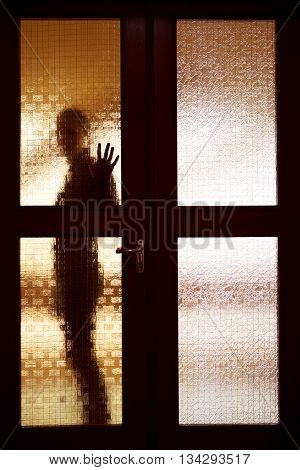 Woman behind the matte glass door blurred silhouette