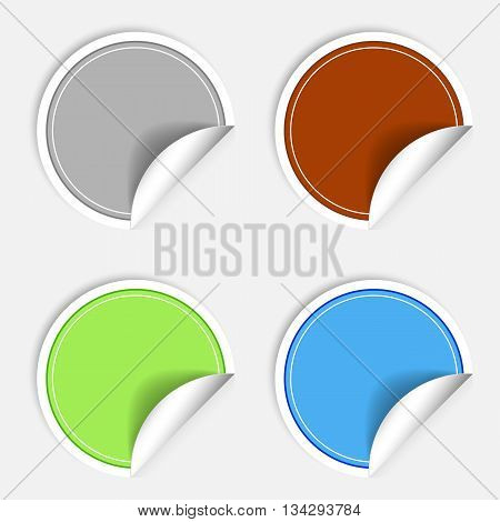 Set of colorful paper stickers on white background. Round sticker labels stamp. Vecror sticker EPS10
