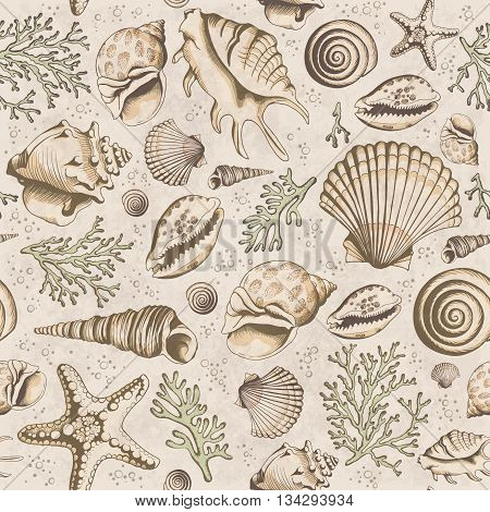 Seamless vintage pattern with seashells corals and starfishes. Marine background. Vector illustration in sketch style. Perfect for greetings invitations manufacture wrapping paper textile wedding and web design.