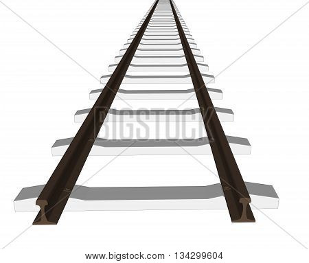 Vector 3d railway, railroad track silhouettes. Straight version repeatable.