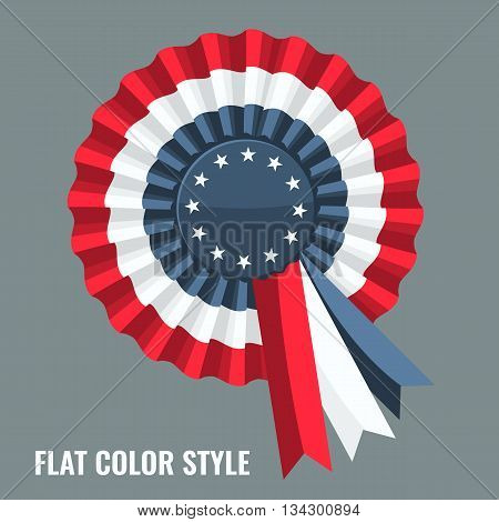 Tricolor Rosette and stars in the center with ribbon. Flat color style design vector.