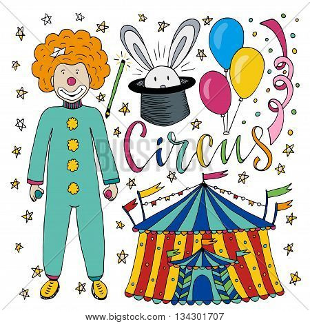 Circus hand drawn collection with colorful clown balloon circus tent and magic rabbit. Happy birthday decorations for kids party
