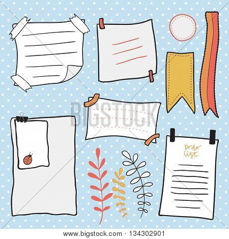 Doodle notepaper vector set. Hand drawn messages sticky notes.