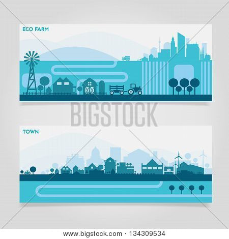 Vector horizontal banners skyline Kit with various parts of city - factories, refineries, power plants and small towns or suburbs. Illustration divided on layers for create parallax effect