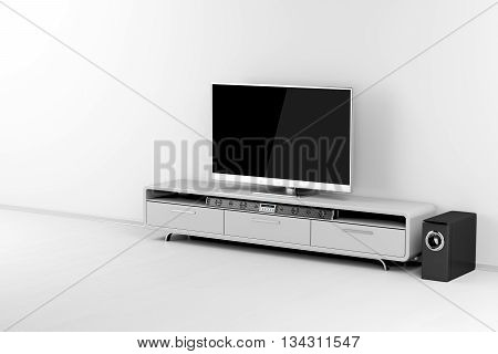 Flat screen tv with audio system on tv stand, 3D illustration