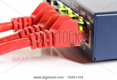 Ethernet Network Router Switch With Red Cables