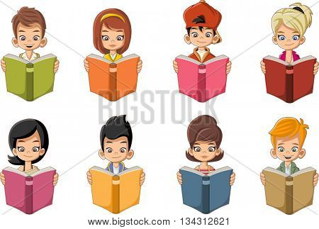 Cute cartoon children reading books. Students.