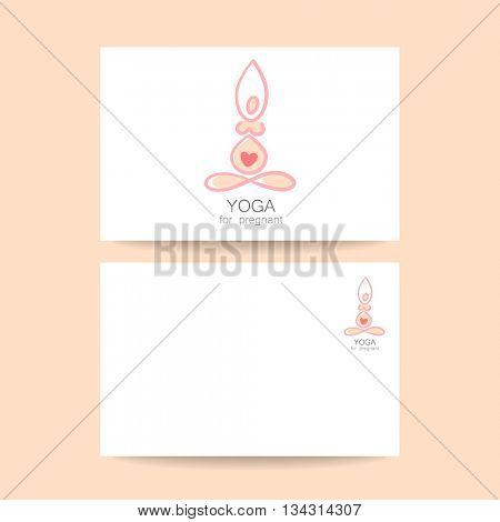 Yoga for pregnant women. Logotype design template. Concept business card design. Idea for Yoga studio and classes for pregnant women.  Vector graphic illustration.