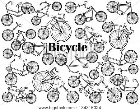 Cycle design colorless set vector illustration. Coloring book. Black and white line art