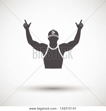 Football Fan With Hands Up Icon