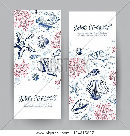 Set of two vertical banners with seashells corals and starfishes. Travel Template. Vector banners with place for your text. Marine background.