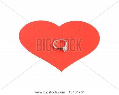 Large Red Heart With Diamond Ring