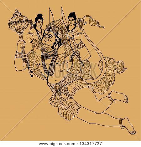 Indian god Hanuman flying on a beige background