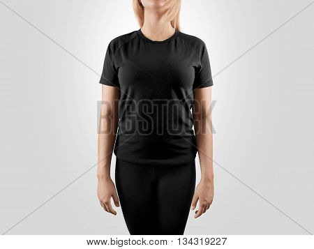 Blank black t-shirt design mockup, isolated. Women tshirt clear template front mock up. Empty female apparel uniform singlet model. Sweat tee shirt plain dress surface ready for print. Gray t shirt