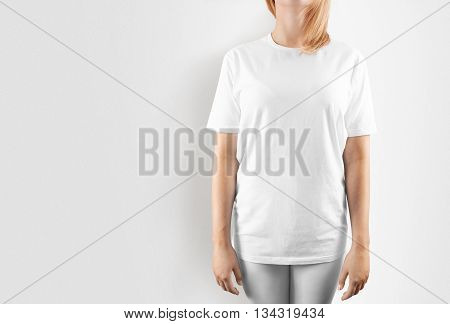 Blank white t-shirt design mockup, isolated. Women tshirt clear template front mock up. Empty female apparel uniform singlet model. Sweat tee shirt plain dress surface ready for print. Cotton t shirt