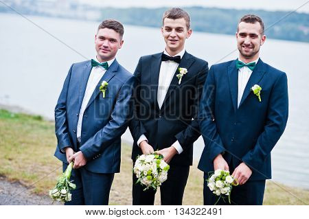 Three Friends, Groom With Groomsman Having Fun, Male Potency Theme