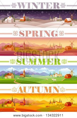 Idyllic farming landscape flayer design with text logo Winter, Spring, Summer, Autumn. Villa houses, chirch, barn, mill, cow and country roads. Four seasons year calendar collection.