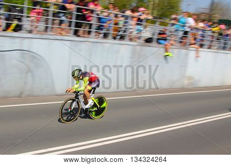 APELDOORN, NETHERLANDS-MAY 6 2016: Matteo Busato of pro cycling team Wilier-Southeast during the Giro d'Italia prologue time trial.