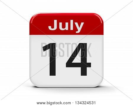 Calendar web button - The Fourteenth of July - The Bastille Day three-dimensional rendering 3D illustration