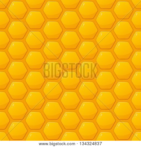 Vector Seamless Pattern With Yellow Honeycombs. Honey Background. Design For Honey Package, Labels,