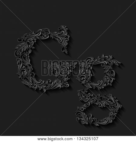 Handsomely decorated letter g in upper and lower case on black