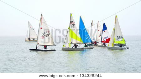 Felixstowe, Suffolk, England - June 11, 2016: Colourful Sailing Dinghies together at Felixstowe Suffolk England.