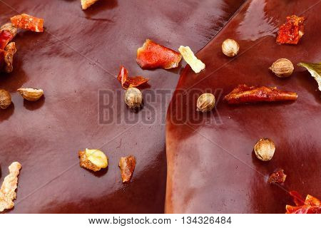 Fresh raw turkey liver. Isolated on white. Cooking food.