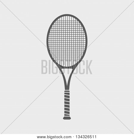 Sign Or Icon With Great Tennis Racket On Light Background