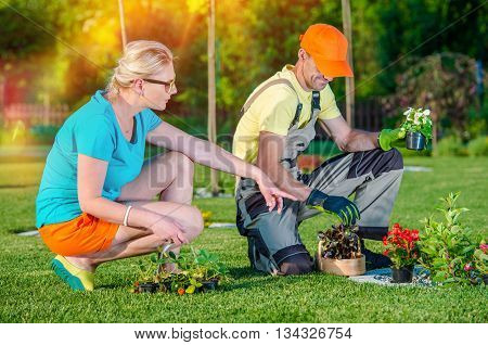 Gardener Landscaper Working with Client Taking Orders and Listening Clients Ideas For New Garden Development. Landscaping Business.