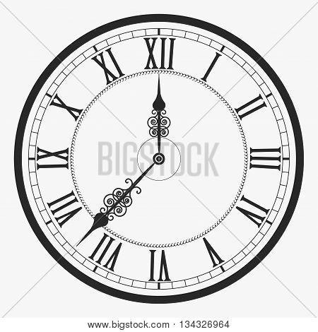 Black wall clock Roman numeral, old vintage clock-face vector