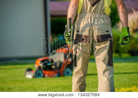 Garden Is My Mission. Caucasian Landscaper Gardener Ready For Hard Garden Work.