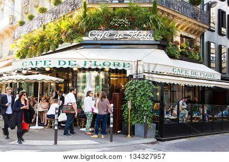 Paris; France-June 09 2016 : The famous cafe de Flore located at the corner of boulevard Saint Germain and rue Saint Benoit. It was once home for intellectual stars from Hemingway to Pablo Picasso.