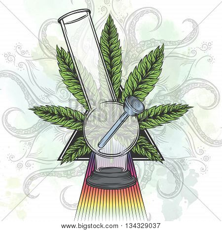 Marijuana leaf. Hand drawn isolated illustrations on abstract watercolor background.