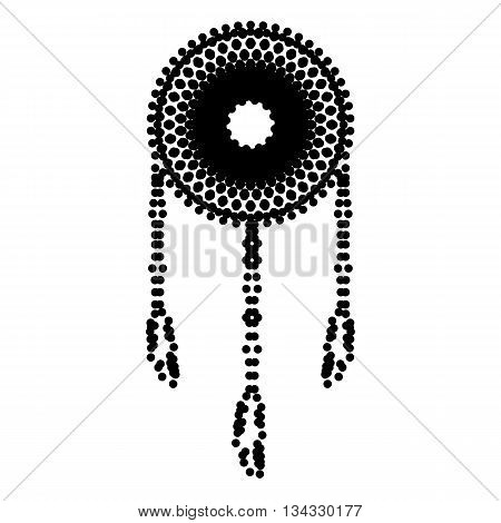Dream catcher sign. Dot style or bullet style icon on white.
