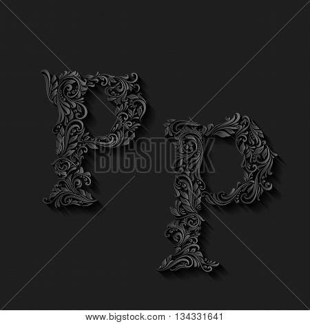 Handsomely decorated letter p in upper and lower case on black