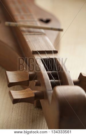 Appalachian mountain dulcimer instrument close up