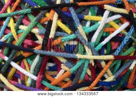 Close up of colorful crocheted threads full frame