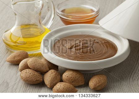 Traditional Moroccan almond amlou with almonds,argan oil and honey