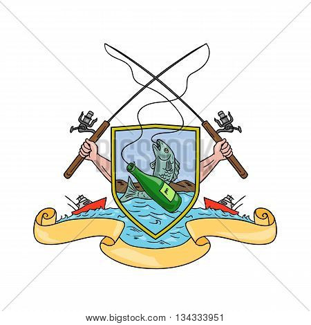 Drawing sketch style illustration of hand holding fishing rod and reel hooking a beer bottle and fish with deep sea fishing boat on side set inside crest shield shape coat of arms done in retro style.