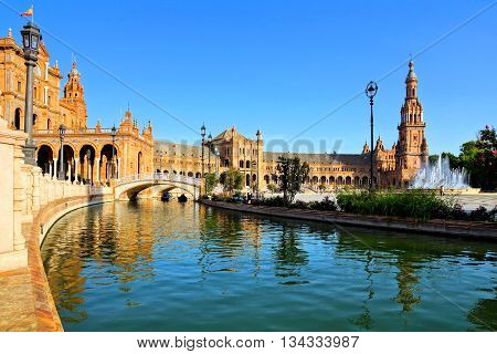 Beautiful Reflections At Plaza De Espana, Sevilla, Spain