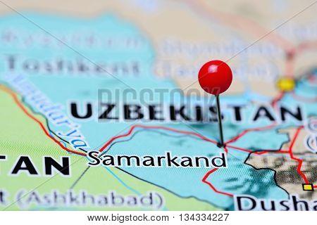 Samarkand pinned on a map of Uzbekistan