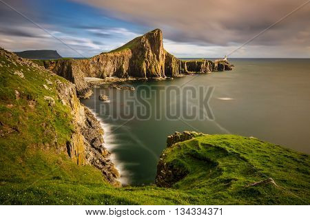 Cliffs of Neist Point Cape and lighthouse Isle of Skye Scotland