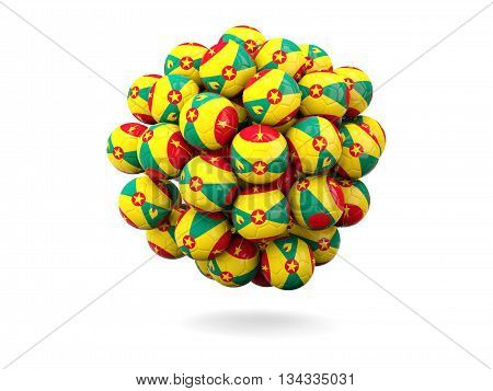 Pile Of Footballs With Flag Of Grenada
