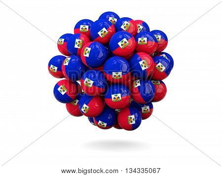 Pile Of Footballs With Flag Of Haiti