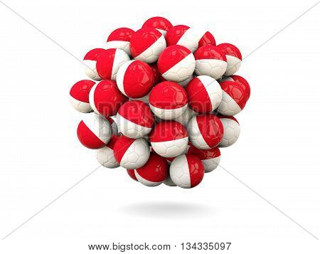 Pile Of Footballs With Flag Of Indonesia