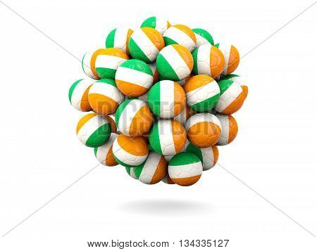 Pile Of Footballs With Flag Of Ireland